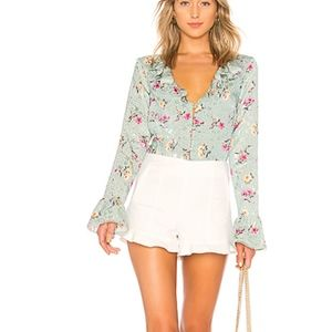 Majorelle- BRAND NEW green floral blouse